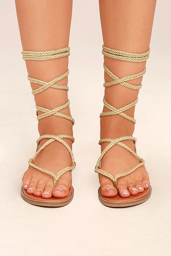 259a385e529 Madden Girl Juliie Gold - Lace-Up Sandals - Leg-Wrap Sandals - Rope ...