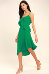 Lovely Green Midi Dress Asymmetrical Midi Dress Sleeveless Midi