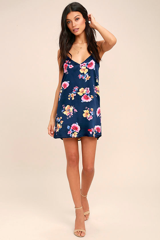 57adc3f9635e Cute Navy Blue Floral Print Dress - Slip Dress - Shift Dress - Satin Slip  Dress - $42.00