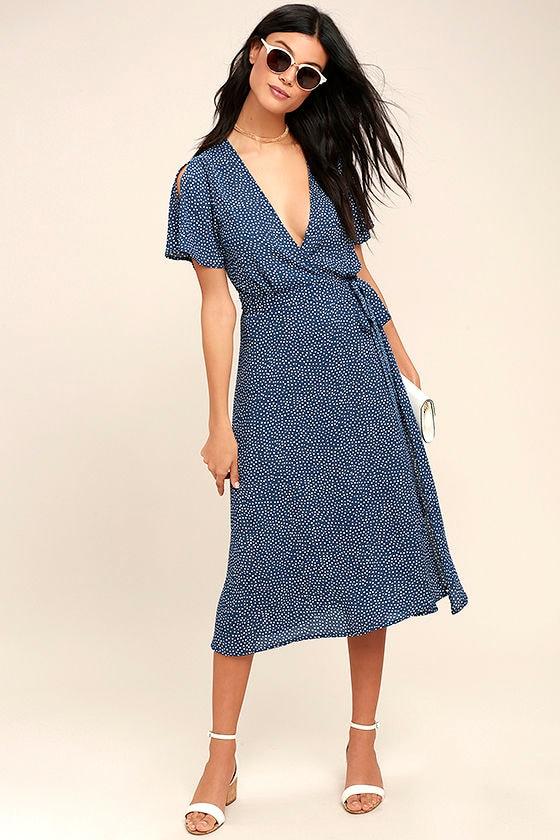 Cute Navy Blue Polka Dot Dress Wrap Dress Midi Dress