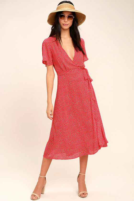 Cute Red Polka Dot Dress - Wrap Dress - Midi Dress - $84.00