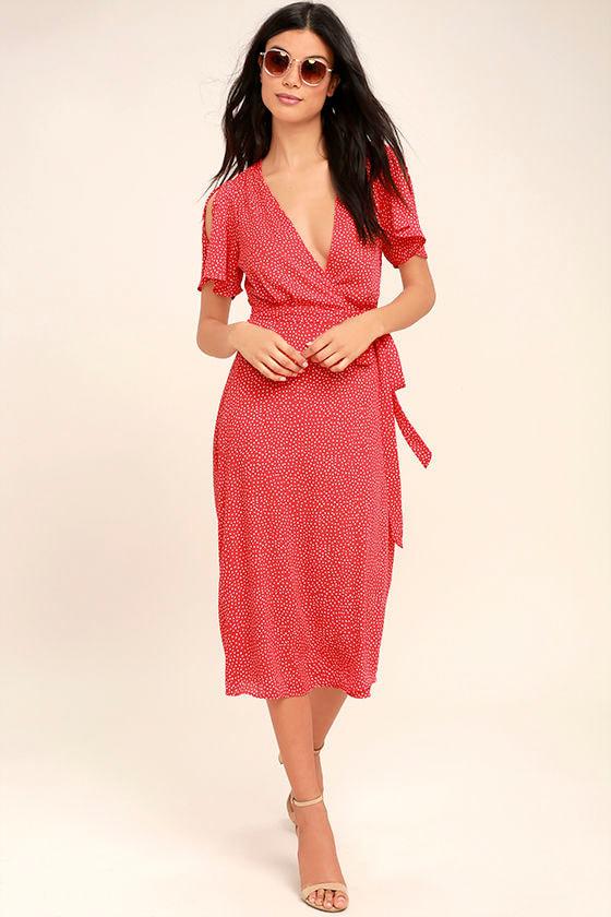 9a0338992e72 Cute Red Polka Dot Dress - Wrap Dress - Midi Dress - $84.00