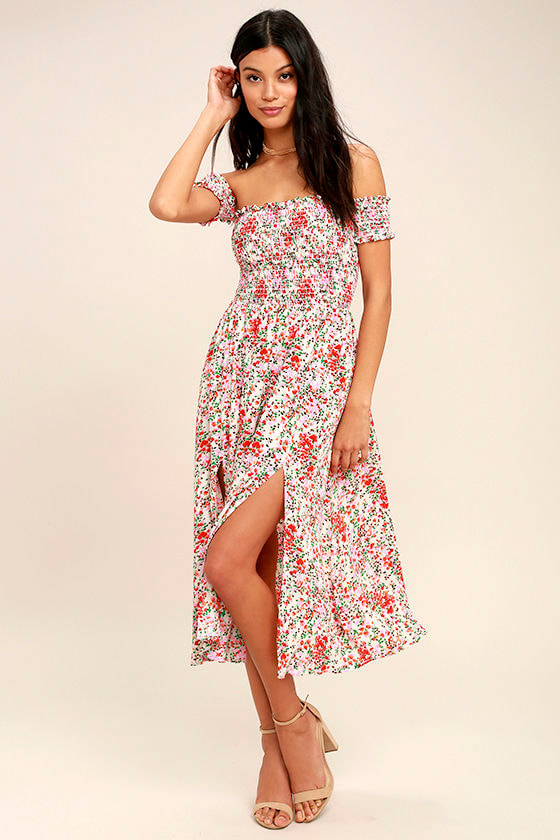 a83d4f28487 View from the Meadow Cream Floral Print Off-the-Shoulder Dress
