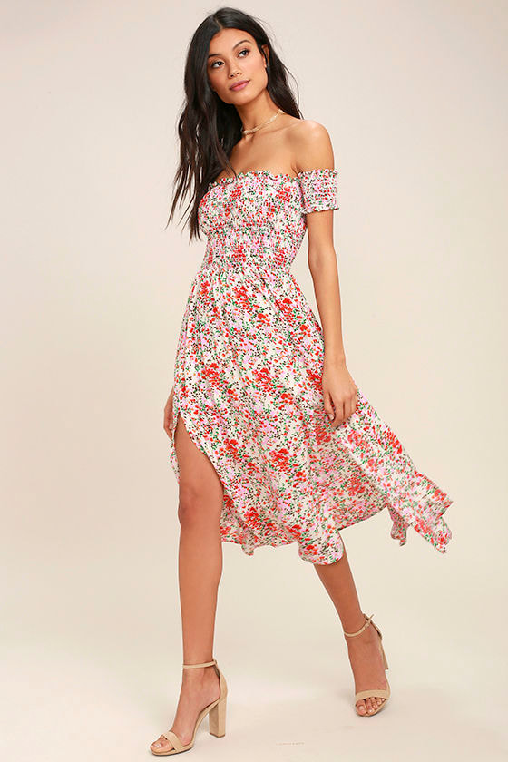 804e977a7f0 Cute Cream Floral Print Dress - Off-the-Shoulder Midi Dress