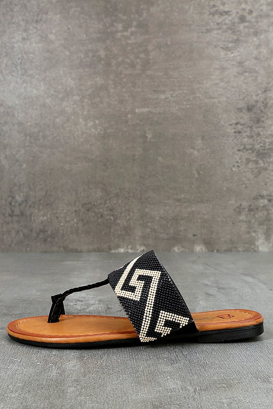 Matador Black Beaded Thong Sandals 1