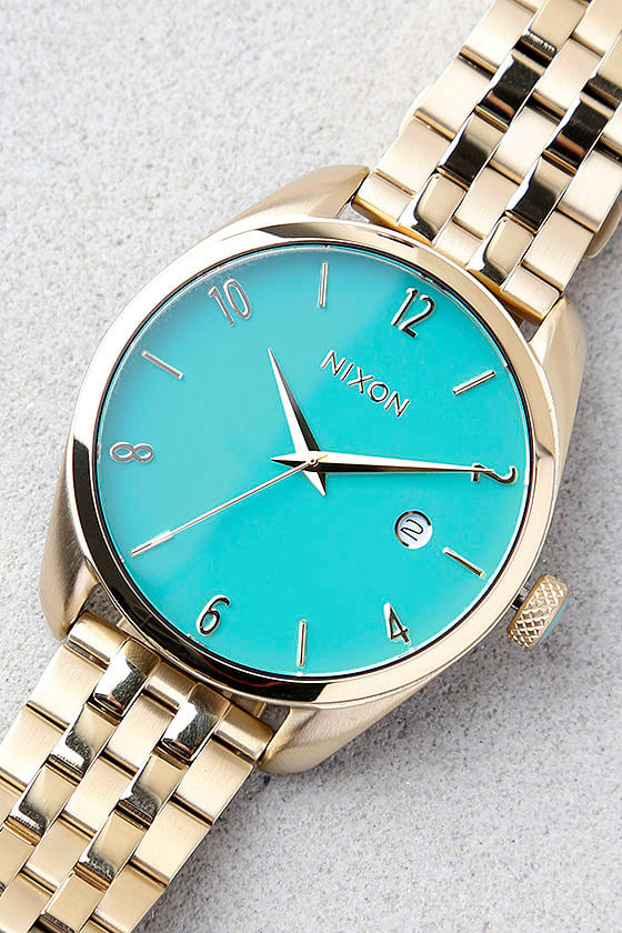 Nixon Bullet Light Gold and Turquoise Watch 1