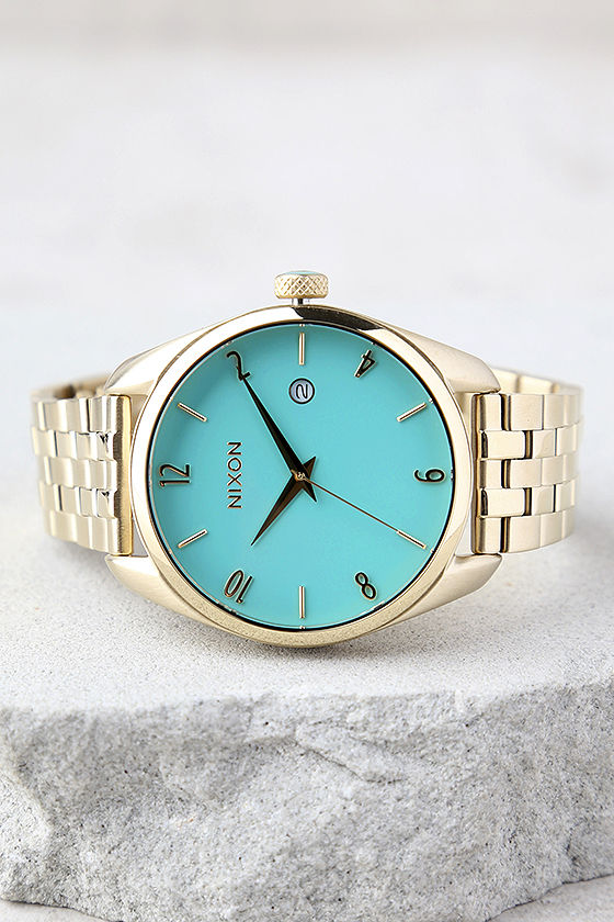 Nixon Bullet Light Gold and Turquoise Watch 2
