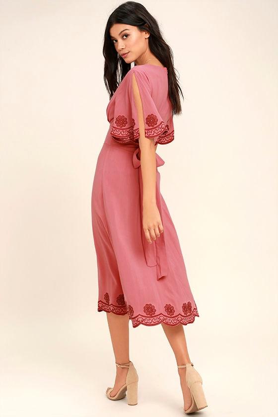 Artistic Terra Cotta Embroidered Midi Dress 3