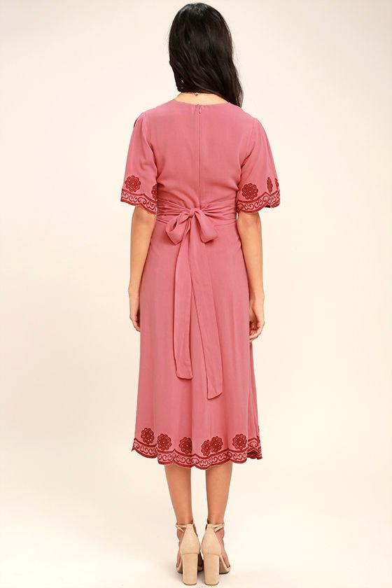 Artistic Terra Cotta Embroidered Midi Dress 4