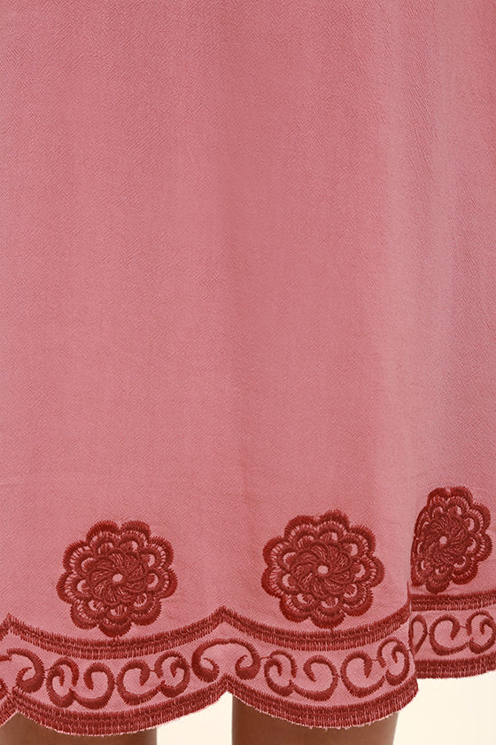 Artistic Terra Cotta Embroidered Midi Dress 6