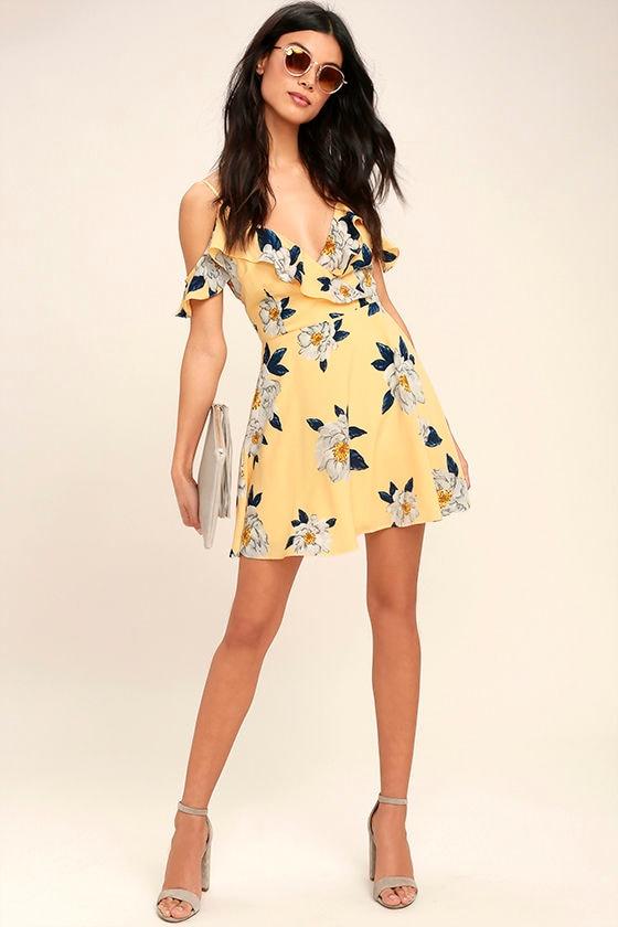 Cute Yellow Dress - Floral Print Dress - Off-the-Shoulder Dress ...