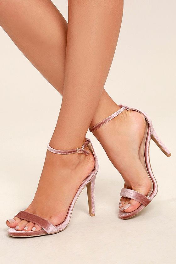 All-Star Cast Blush Velvet Ankle Strap Heels 1