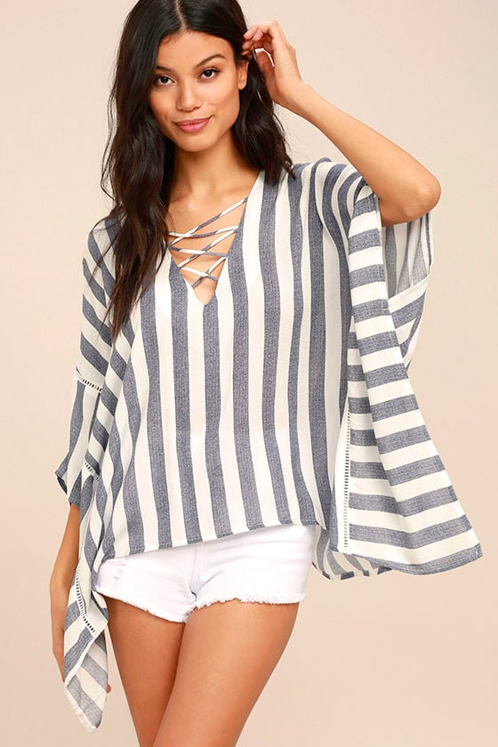PPLA Sia Blue and White Striped Kaftan Top 1