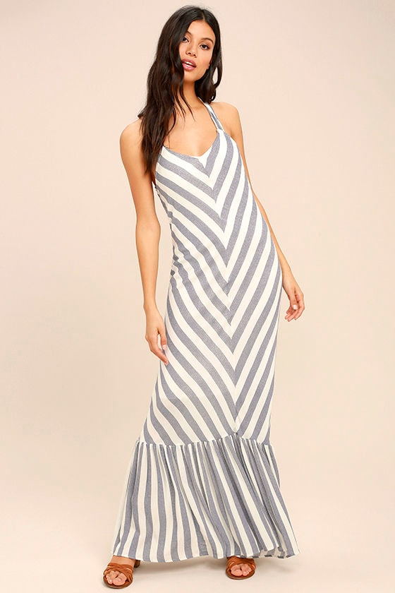 PPLA Delilah - Cute Blue and White Dress - Striped Dress - Maxi ...