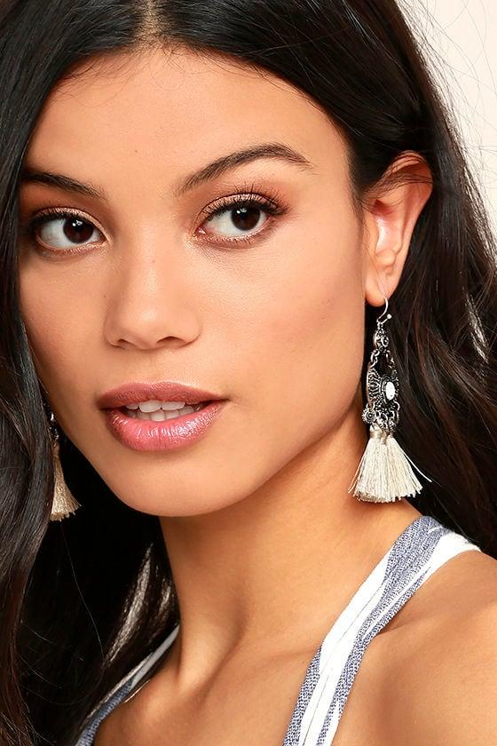 Ancient Ritual Silver and Cream Tassel Earrings 1