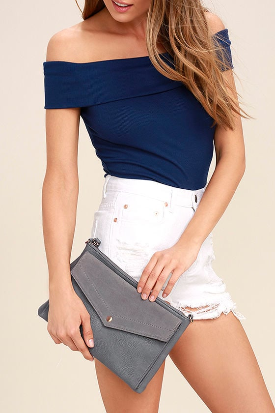 Set List Grey Suede Leather Clutch 1