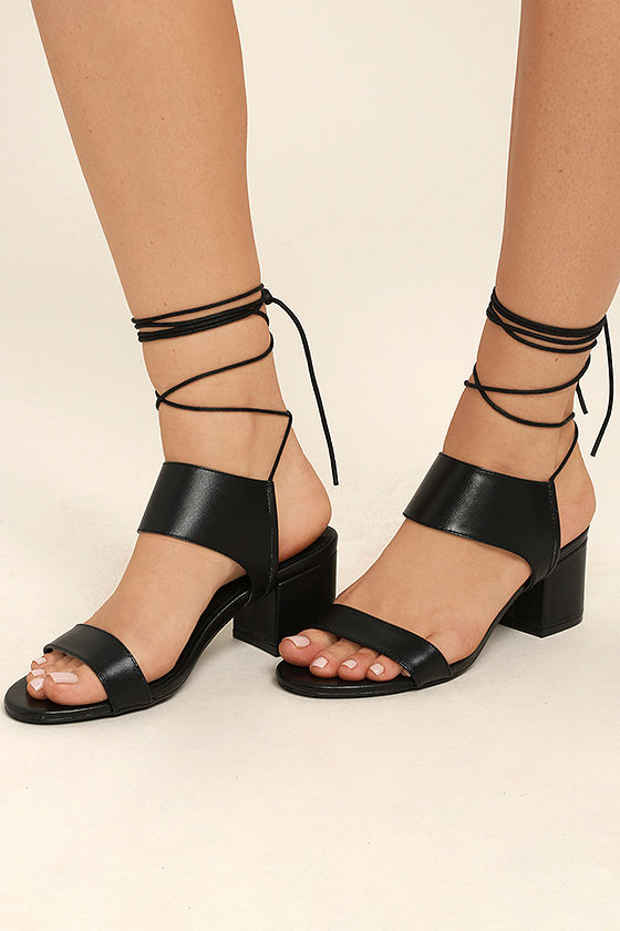 Salome Black Leather Lace-Up Heels 1