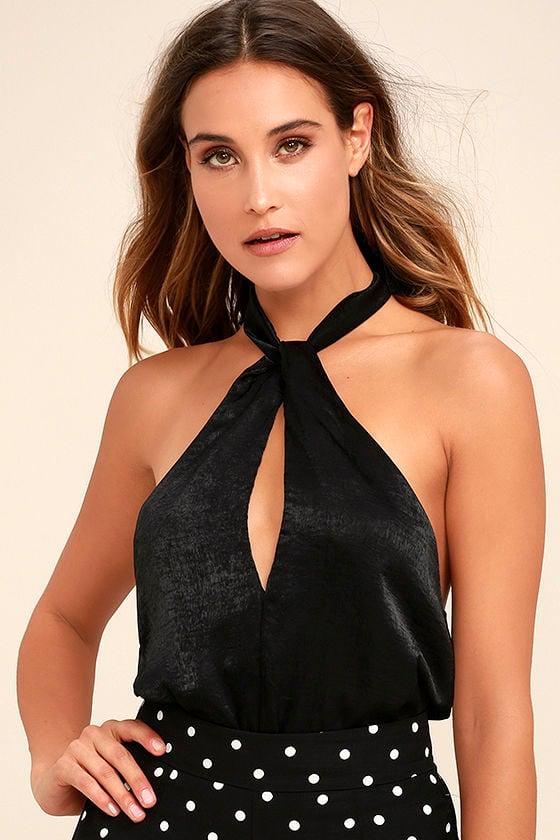 Granita Black Halter Bodysuit 1