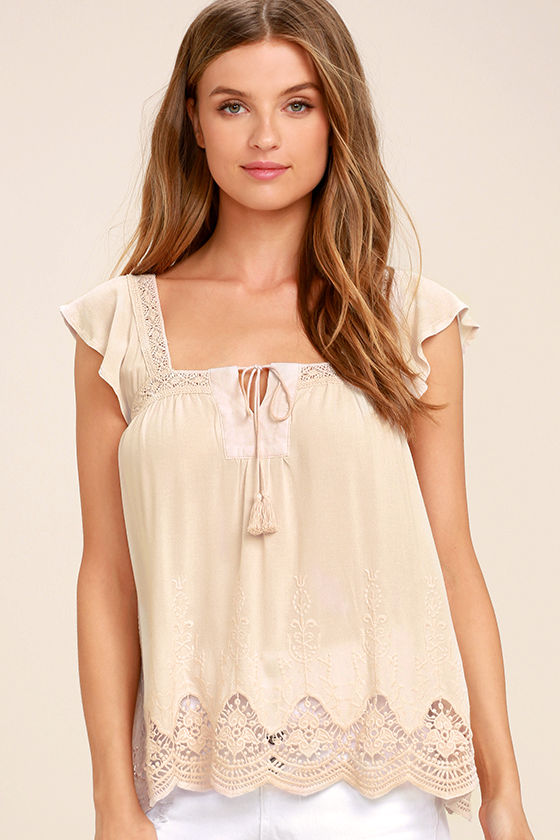 Lovely Evening Light Beige Lace Top 1