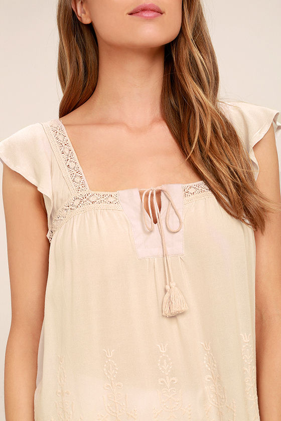 Lovely Evening Light Beige Lace Top 5