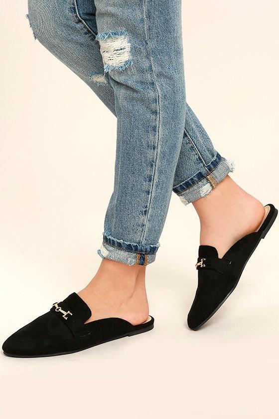30c6b3f3eab5 Chic Black Loafers - Black Suede Loafers - Black Loafer Slides ...