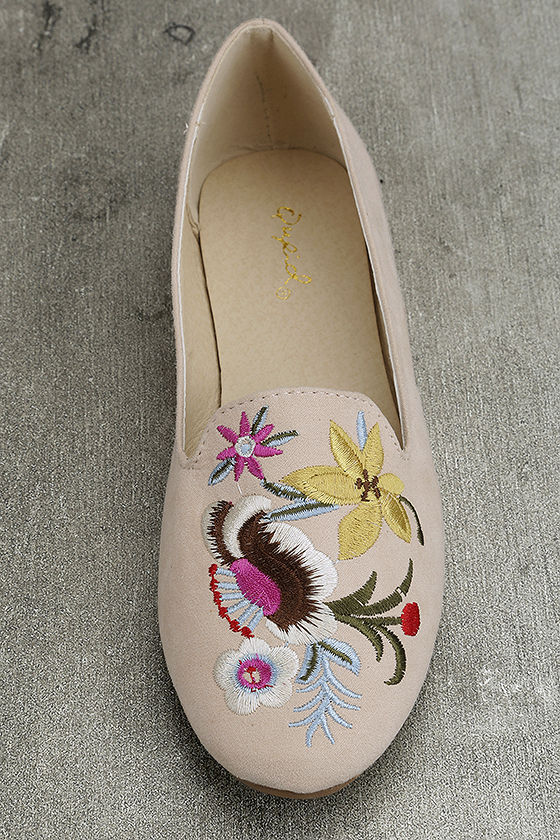 Arvida Nude Suede Embroidered Loafer Flats 5