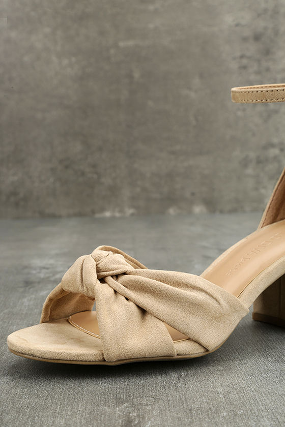 Lalita Natural Suede Ankle Strap Heels 6