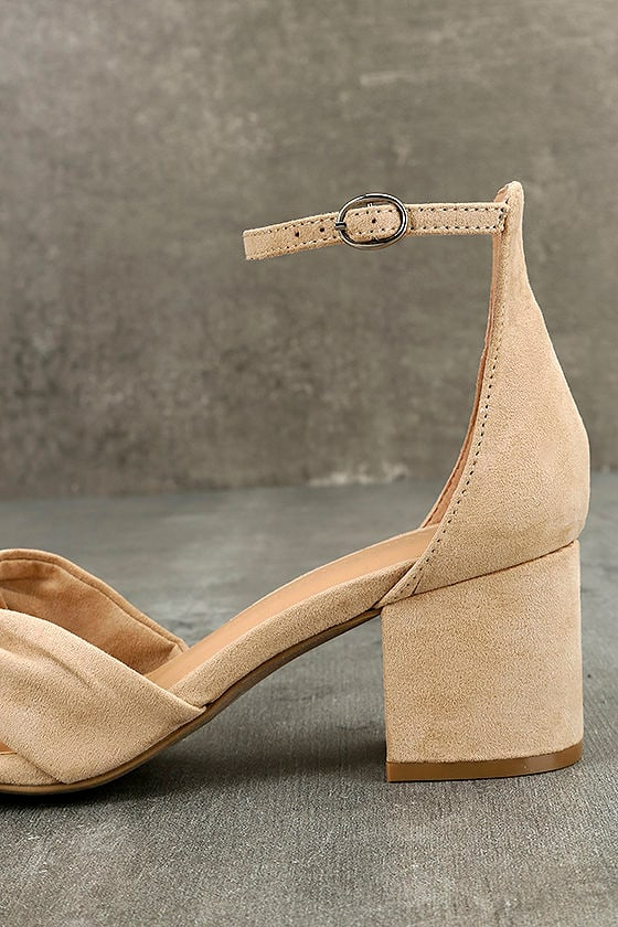 Lalita Natural Suede Ankle Strap Heels 7