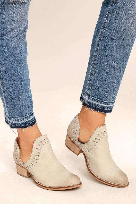Rebels RB Cathy Ice Grey Leather Cutout Booties 1