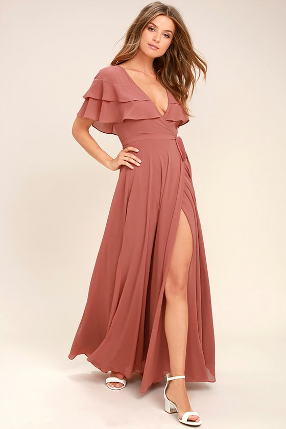 Lovely Rusty Rose Wrap Maxi Short Sleeve Wrap Dress