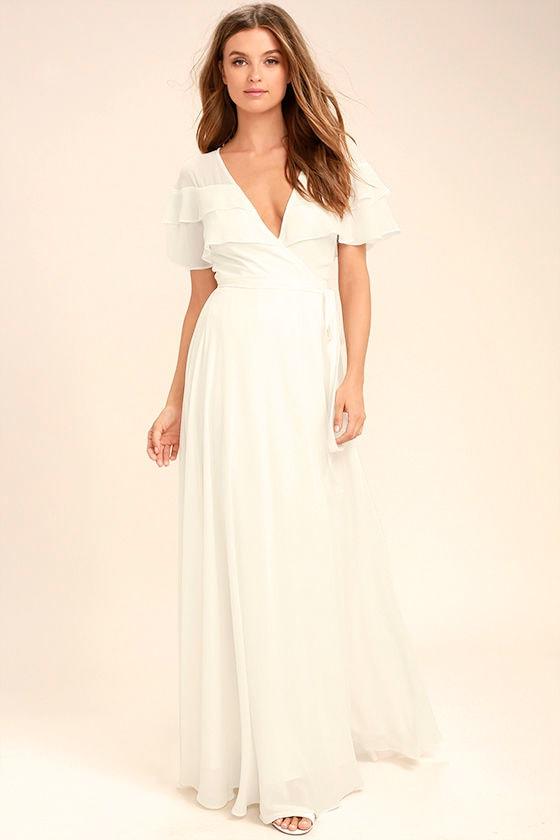 a4716c24e23 Lovely White Wrap Maxi - Short Sleeve Wrap Dress - White Maxi Dress ...