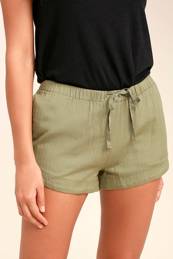 RVCA Yume Shorts - Olive Green Shorts - Cotton Shorts - Drawstring ...