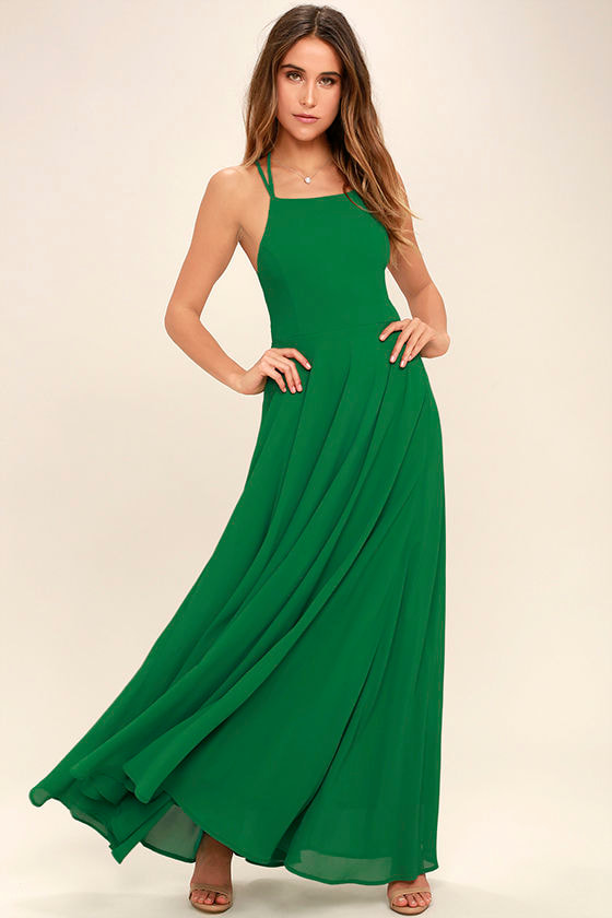Strappy to be Here Green Maxi Dress 2
