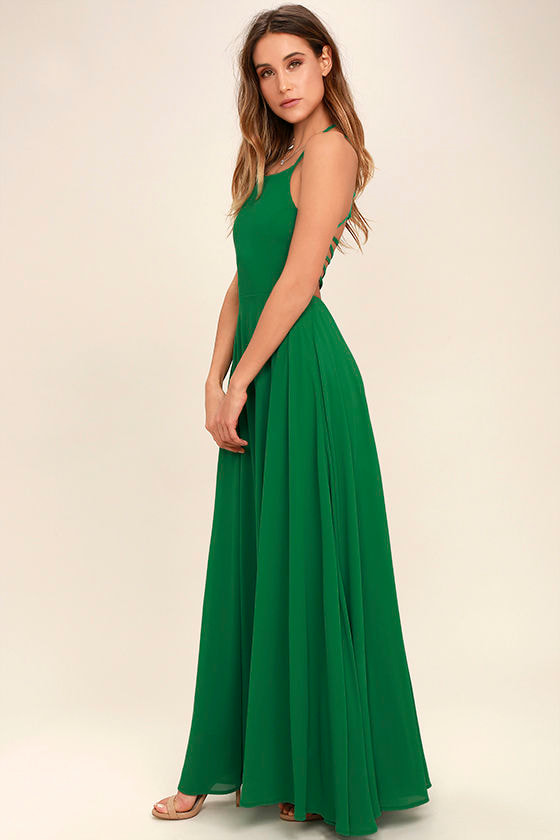 Strappy to be Here Green Maxi Dress 3