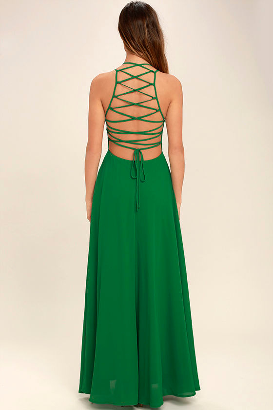 Strappy to be Here Green Maxi Dress 4