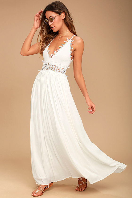 Lovely White Maxi Dress - Lace Maxi Dress - Plunge Neck Maxi - $78.00