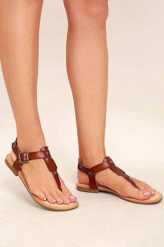 0a7575639 Madden Girl Matcha - Cognac Flat Sandals - Brown and Gold Sandals ...