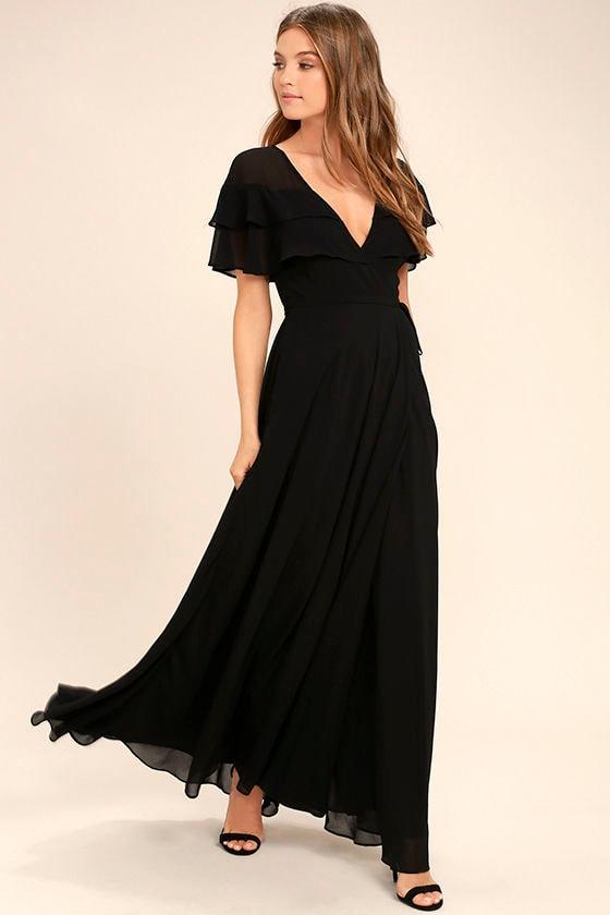 Lovely Black Wrap Maxi Short Sleeve Wrap Dress Black Maxi Dress