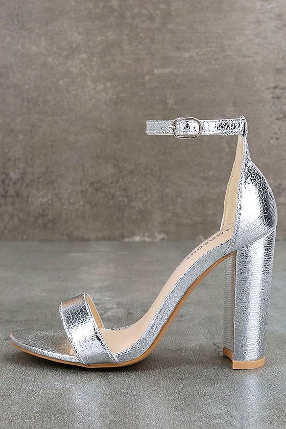 14abd06bac9 Chic Silver Heels - Metallic Heels - Silver Ankle Strap Heels - Silver  Sandals -  49.00