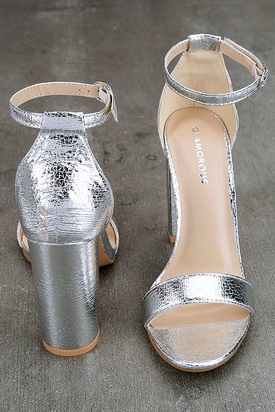 Glamorous Ceara Silver Ankle Strap Heels 3