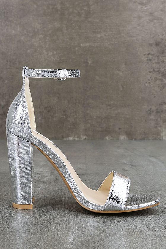 Glamorous Ceara Silver Ankle Strap Heels 4