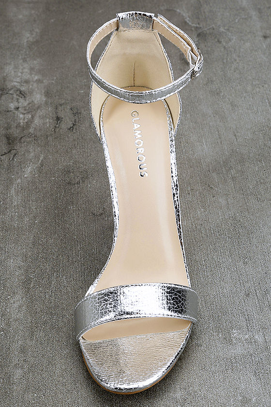 Glamorous Ceara Silver Ankle Strap Heels 5
