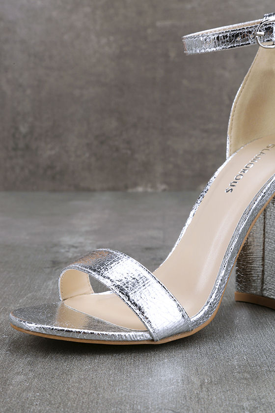 Glamorous Ceara Silver Ankle Strap Heels 6