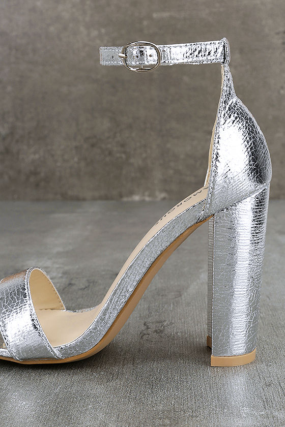 Glamorous Ceara Silver Ankle Strap Heels 7