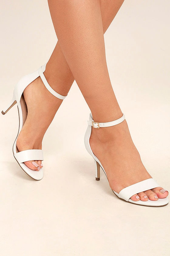 Classic White Heels - Vegan Leather Heels - Ankle Strap Heels - $26.00