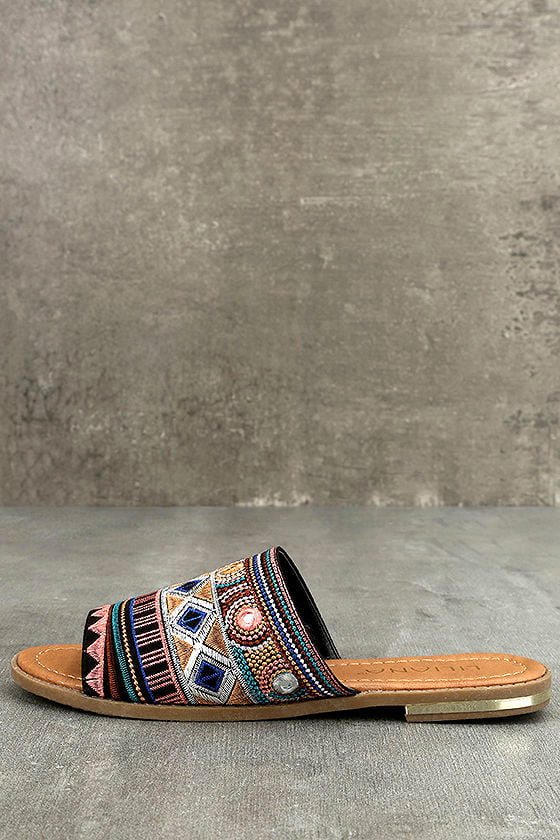 Kamala Black Embroidered Slide Sandals 1