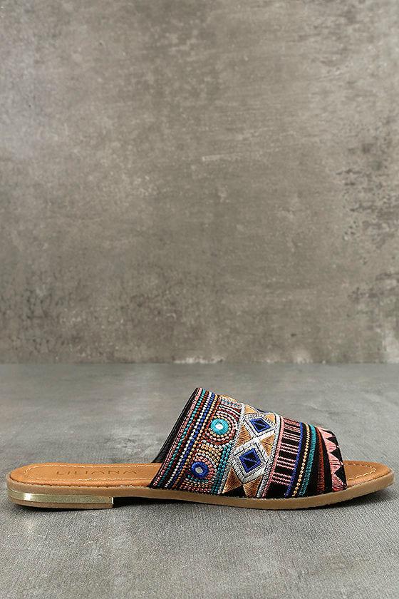 Kamala Black Embroidered Slide Sandals 4