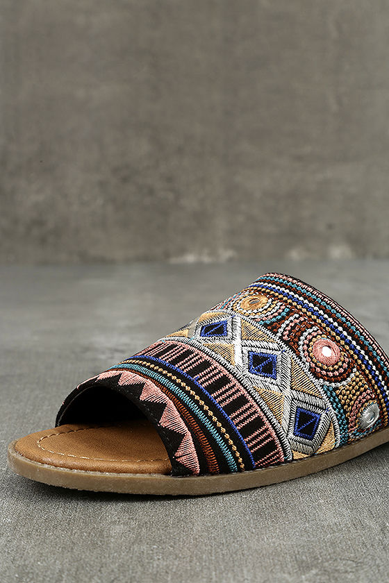 Kamala Black Embroidered Slide Sandals 6