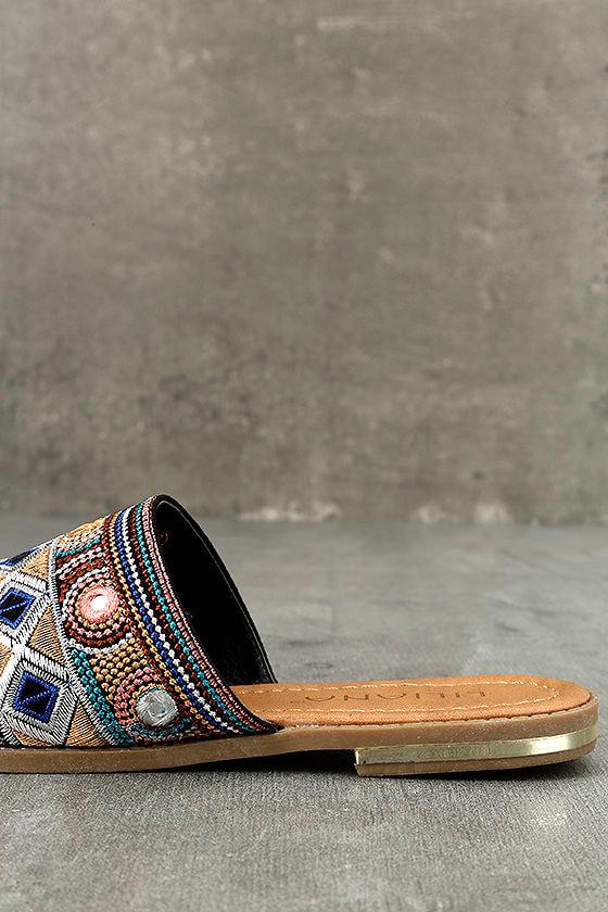 Kamala Black Embroidered Slide Sandals 7