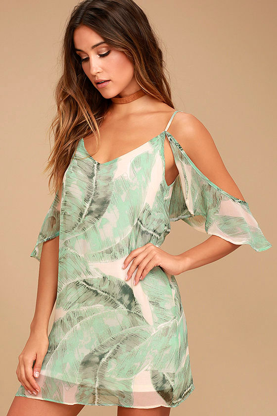 Radiate Positivity Sage Green Print Off-the-Shoulder Dress 1